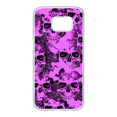 Cloudy Skulls Pink Samsung Galaxy S7 edge White Seamless Case by MoreColorsinLife