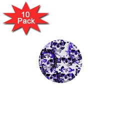 Cloudy Skulls White Blue 1  Mini Buttons (10 Pack)  by MoreColorsinLife
