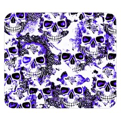 Cloudy Skulls White Blue Double Sided Flano Blanket (small)  by MoreColorsinLife