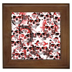 Cloudy Skulls White Red Framed Tiles by MoreColorsinLife