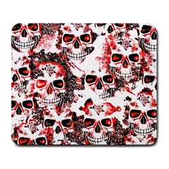 Cloudy Skulls White Red Large Mousepads by MoreColorsinLife