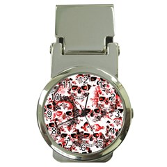 Cloudy Skulls White Red Money Clip Watches by MoreColorsinLife