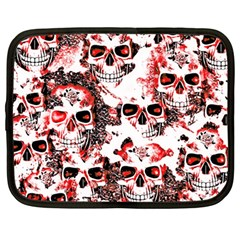 Cloudy Skulls White Red Netbook Case (large) by MoreColorsinLife