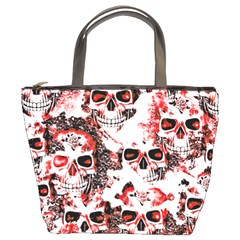 Cloudy Skulls White Red Bucket Bags by MoreColorsinLife