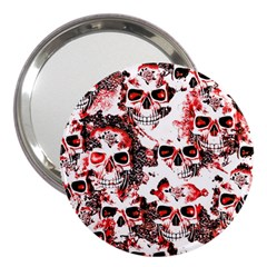 Cloudy Skulls White Red 3  Handbag Mirrors by MoreColorsinLife