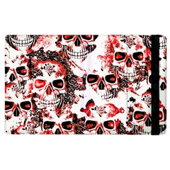 Cloudy Skulls White Red Apple Ipad 3/4 Flip Case by MoreColorsinLife