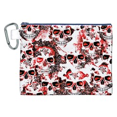 Cloudy Skulls White Red Canvas Cosmetic Bag (xxl) by MoreColorsinLife