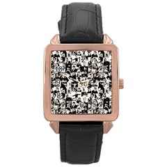Elvis Presley Pattern Rose Gold Leather Watch  by Valentinaart