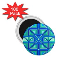 Grid Geometric Pattern Colorful 1 75  Magnets (100 Pack)  by Nexatart