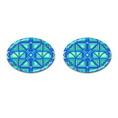 Grid Geometric Pattern Colorful Cufflinks (oval) by Nexatart