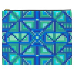 Grid Geometric Pattern Colorful Cosmetic Bag (XXXL)  by Nexatart