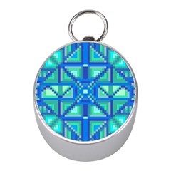 Grid Geometric Pattern Colorful Mini Silver Compasses by Nexatart