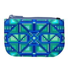 Grid Geometric Pattern Colorful Large Coin Purse by Nexatart