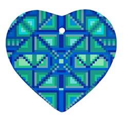 Grid Geometric Pattern Colorful Ornament (heart) by Nexatart