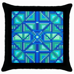 Grid Geometric Pattern Colorful Throw Pillow Case (black) by Nexatart