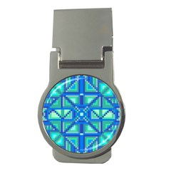 Grid Geometric Pattern Colorful Money Clips (round)  by Nexatart