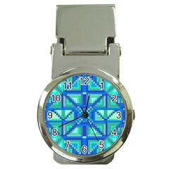Grid Geometric Pattern Colorful Money Clip Watches by Nexatart