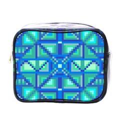 Grid Geometric Pattern Colorful Mini Toiletries Bags by Nexatart