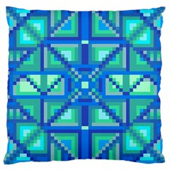 Grid Geometric Pattern Colorful Large Cushion Case (one Side) by Nexatart