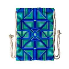 Grid Geometric Pattern Colorful Drawstring Bag (small) by Nexatart