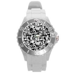 Elvis Presley Pattern Round Plastic Sport Watch (l) by Valentinaart