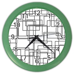 Structure Pattern Network Color Wall Clocks by Nexatart