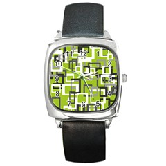 Pattern Abstract Form Four Corner Square Metal Watch by Nexatart