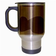 Pattern Wave Beige Brown Travel Mug (silver Gray) by Nexatart
