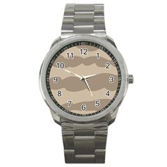 Pattern Wave Beige Brown Sport Metal Watch by Nexatart