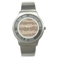 Pattern Wave Beige Brown Stainless Steel Watch by Nexatart