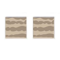 Pattern Wave Beige Brown Cufflinks (square) by Nexatart
