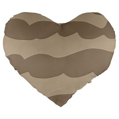 Pattern Wave Beige Brown Large 19  Premium Heart Shape Cushions by Nexatart