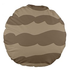Pattern Wave Beige Brown Large 18  Premium Flano Round Cushions by Nexatart