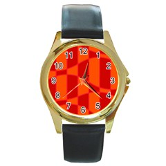 Background Texture Pattern Colorful Round Gold Metal Watch by Nexatart