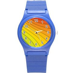 Abstract Pattern Lines Wave Round Plastic Sport Watch (s) by Nexatart