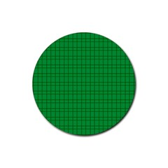 Pattern Green Background Lines Rubber Coaster (round)  by Nexatart