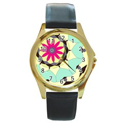 Pink Flower Round Gold Metal Watch by theunrulyartist