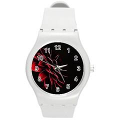 Pattern Design Abstract Background Round Plastic Sport Watch (m) by Nexatart