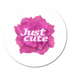 Just Cute Text Over Pink Rose Magnet 5  (round) by dflcprints
