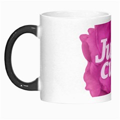 Just Cute Text Over Pink Rose Morph Mugs by dflcprints