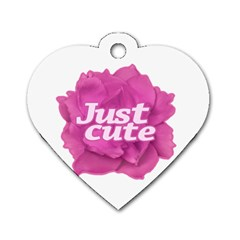 Just Cute Text Over Pink Rose Dog Tag Heart (one Side) by dflcprints