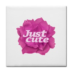Just Cute Text Over Pink Rose Face Towel by dflcprints