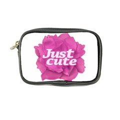 Just Cute Text Over Pink Rose Coin Purse by dflcprints