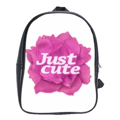 Just Cute Text Over Pink Rose School Bags (xl)  by dflcprints