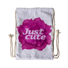 Just Cute Text Over Pink Rose Drawstring Bag (small) by dflcprints