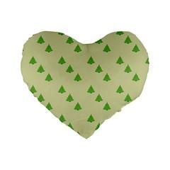 Christmas Wrapping Paper Pattern Standard 16  Premium Flano Heart Shape Cushions by Nexatart