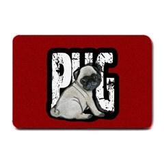 Pug Small Doormat  by Valentinaart