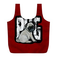 Pug Full Print Recycle Bags (l)  by Valentinaart