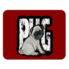 Pug Double Sided Flano Blanket (large)  by Valentinaart