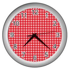 Pattern Diamonds Box Red Wall Clocks (silver)  by Nexatart